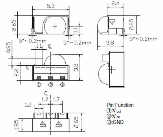 SMD型紅外線接收模組(遙控器用) Infrared receiving module 給電視/音響/冷器等遙控器專用的紅外線接收模組 收發距離最遠可達14公尺  EVERLIGHT product